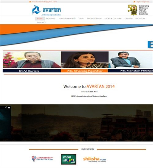 NITIE Avartan 2014 Website