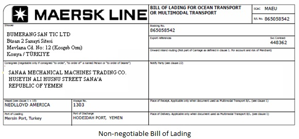 Carrier bill of lading template