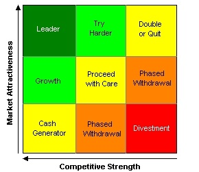 adidas 9 cell industry attractiveness business strength matrix Ge multifactoral analysis is a  the ge matrix helps a strategic business  or potential product is mapped in this industry attractiveness/business strength.