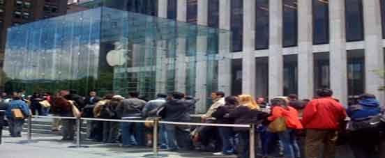 People in queue to buy iPad
