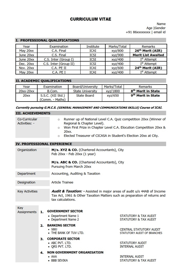 Resume Cv Sample Format Chartered Accountant Ca Mba
