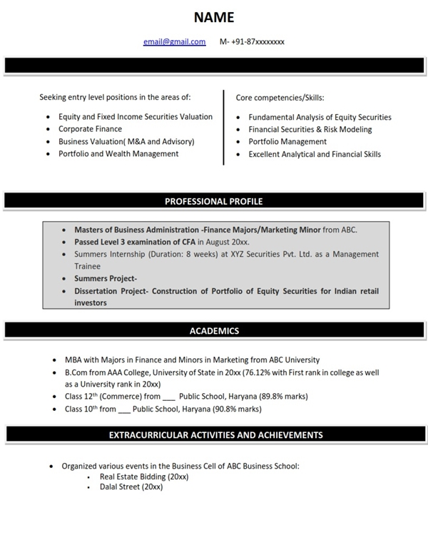 Resume Format for Finance Majors