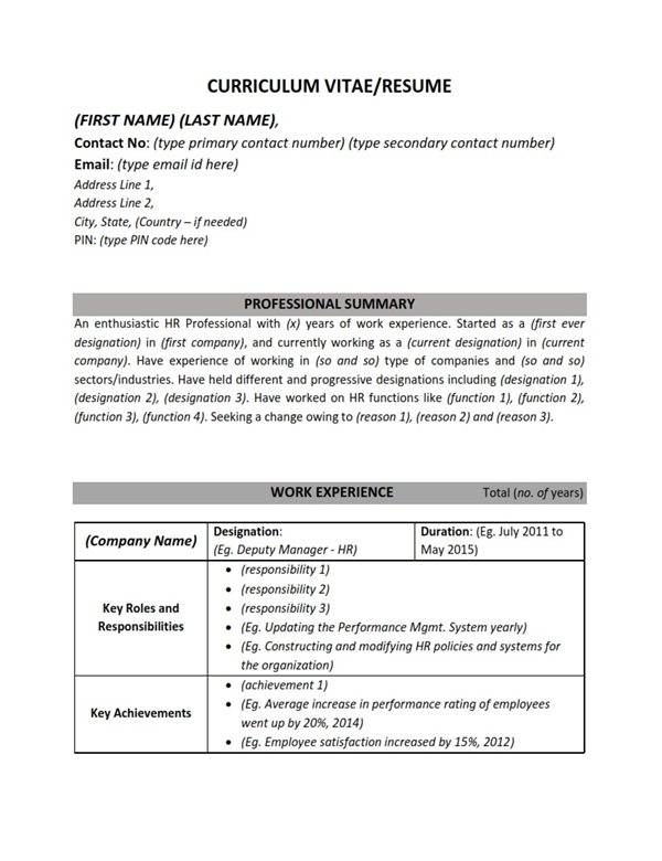 ResumeCv Sample Format  Human Resources Hr Work Experience  Mba