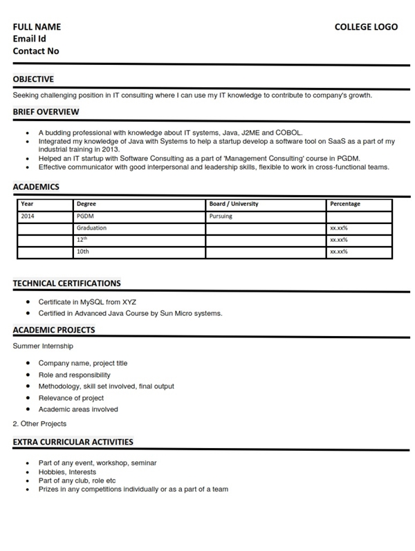 resumecv format for it consulting students - Hobbies In Resume For Freshers